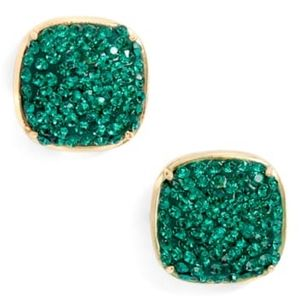 NEW Kate Spade Square Stud Earrings in Emerald